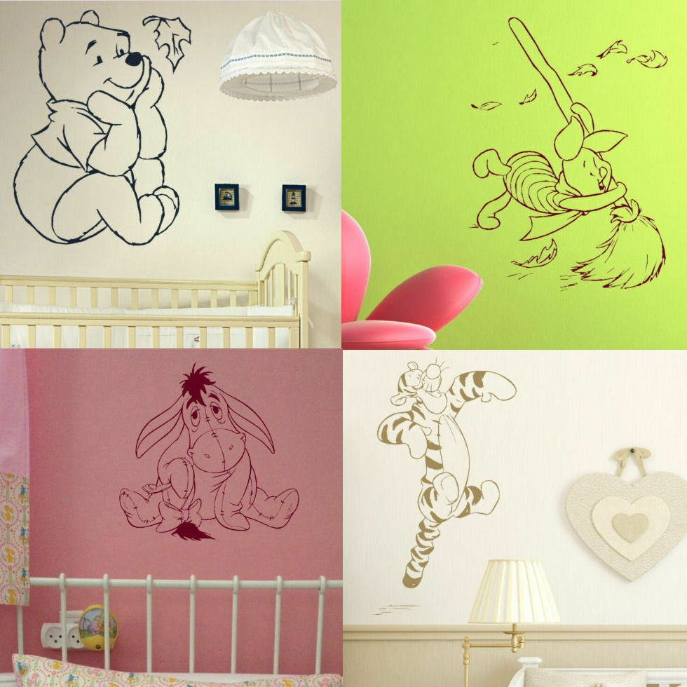 Whinnie The Pooh Wall Stickers Toddler Bedroom Nursery Cartoon Art
