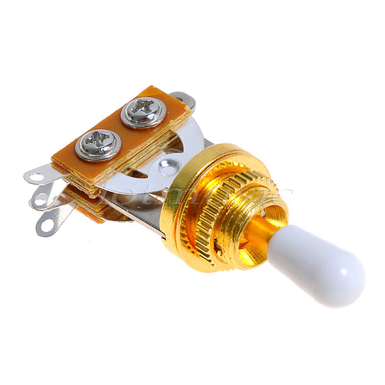 gold guitar 3 way toggle switch pickup selector w white tip for guitar parts ebay. Black Bedroom Furniture Sets. Home Design Ideas
