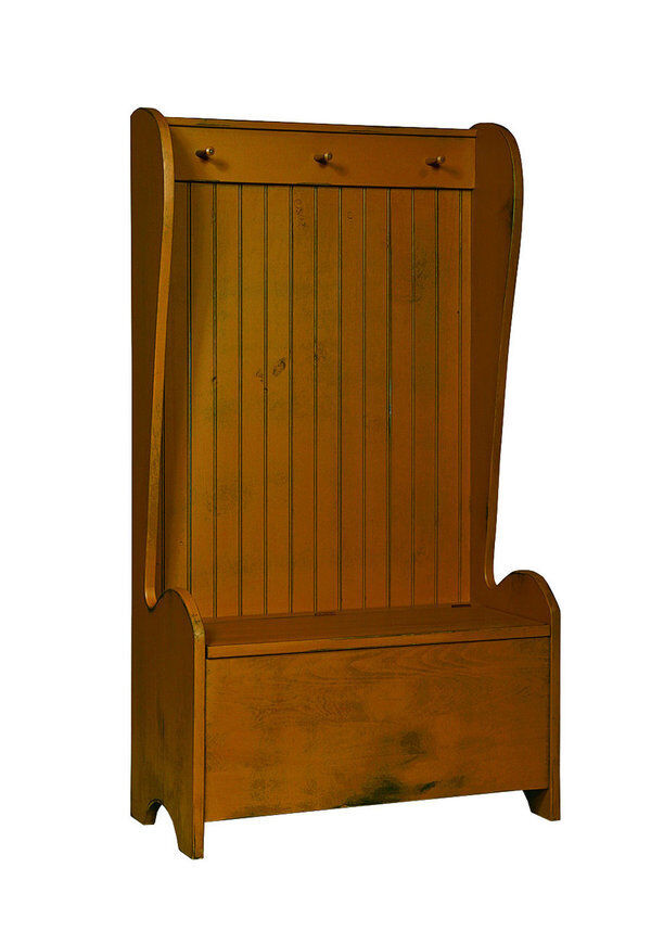Bucket Chest W Storage Bench And Coat Rack Hall Hallway Amish Country Furniture Ebay