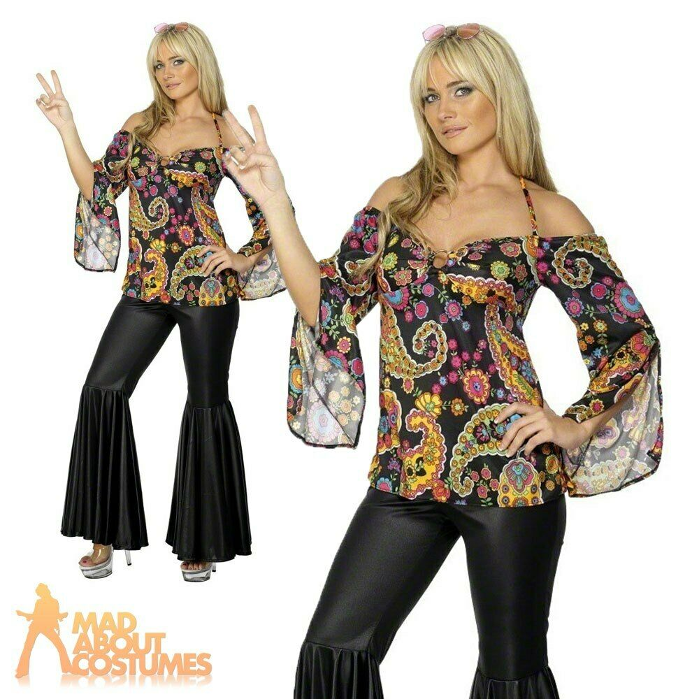 Female Hippy Woman Costume 60s 70s Fancy Dress Flares ...