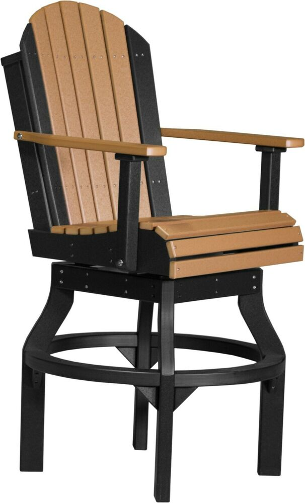 2 Poly Furniture Wood Adirondack Swivel Chairs - Bar ...