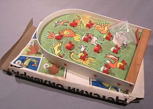 Ball Game Toy : Toy pinball game board soviet russian old vintage wood pin