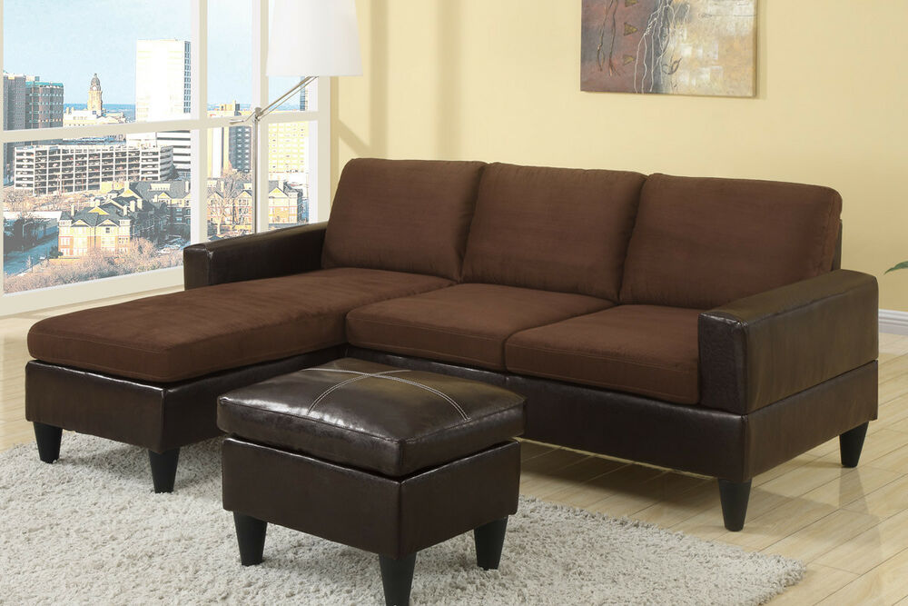 Poundex F7291 Leatherette Amp Fabric Living Room Sofa