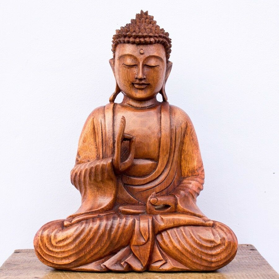 In buddha wood carved carving sculpture statue