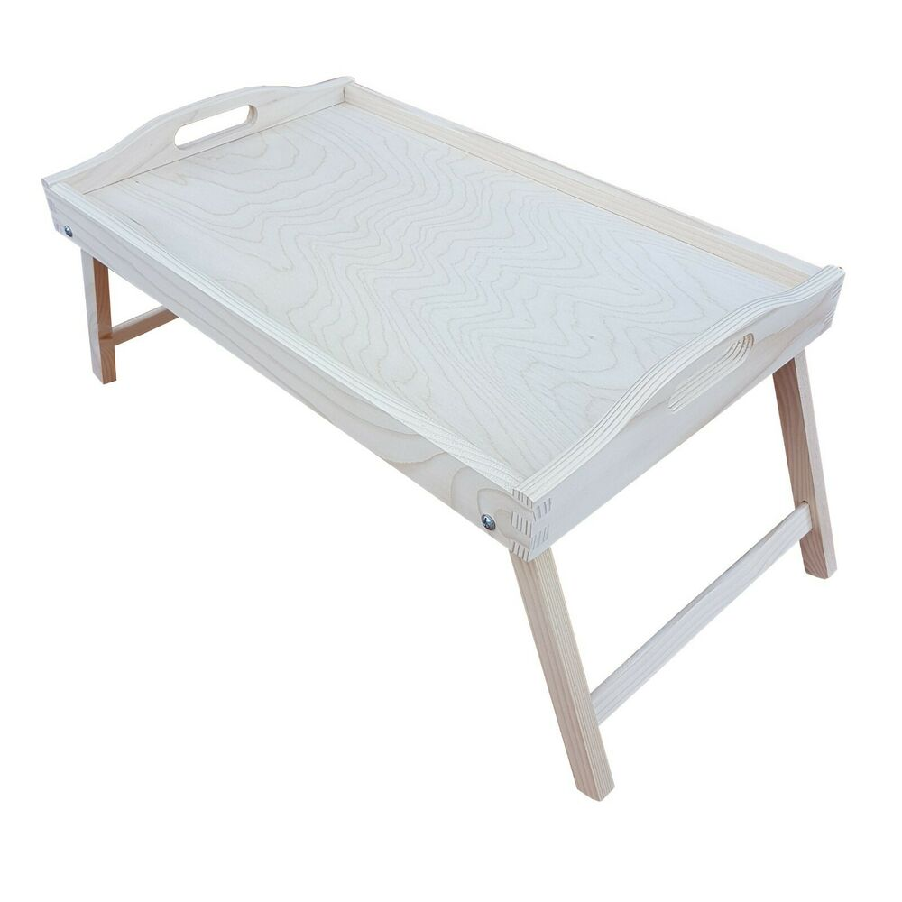 wooden breakfast food serving lap tray with folding legs for bed for decoupage ebay. Black Bedroom Furniture Sets. Home Design Ideas