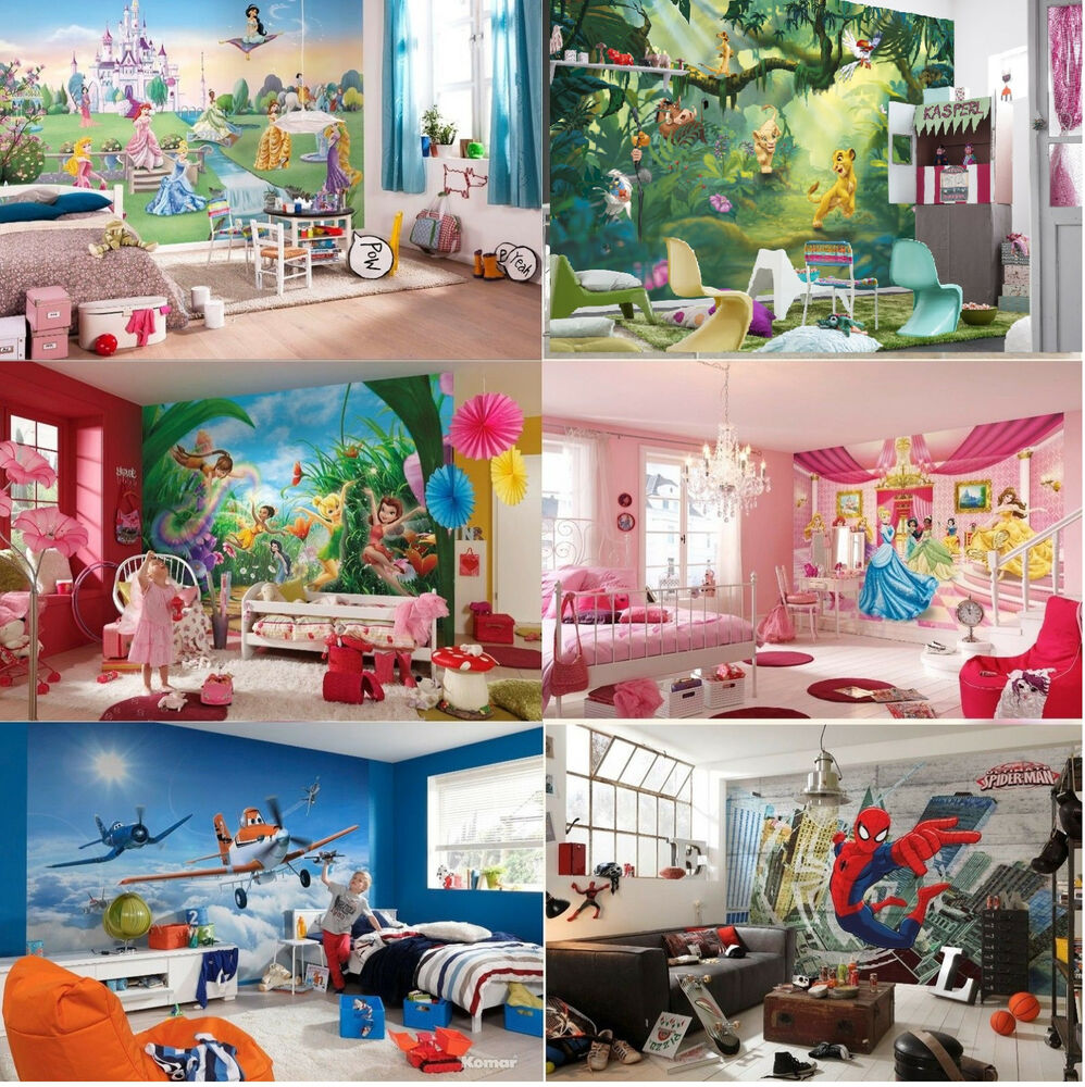 Wall mural wallpapers kids room disney marvel princess for Children s room mural