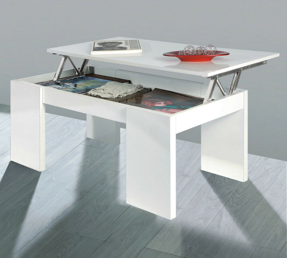 Florence rectangle lift up storage coffee table white - Mecanisme pour table basse relevable ...