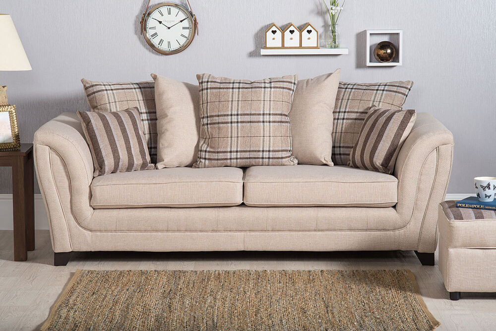 new shannon fabric 3 2 seater sofa settee cuddle chair armchair beige check ebay. Black Bedroom Furniture Sets. Home Design Ideas