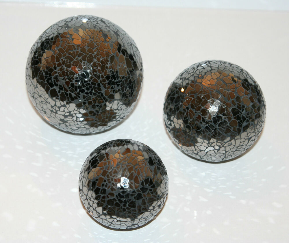 Set of black mirror mosaic decorative glass balls