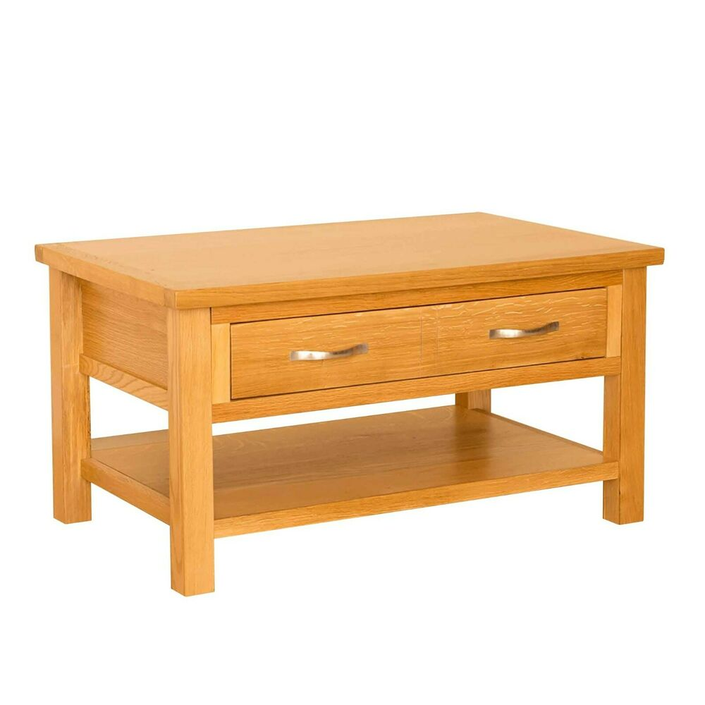 Newlyn oak small coffee table drawer shelf light oak modern coffee table ebay Coffee table with shelf