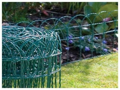NEW GARDEN BORDER FENCE 400mm X 6m PVC GREEN WIRE MESH EDGING EDGE LAWN FENCI