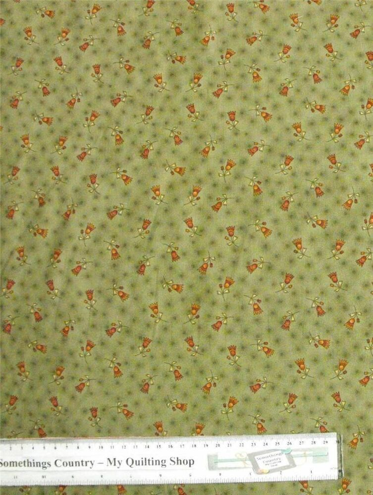 Patchwork quilting fabric sage green with flower for Cotton quilting fabric