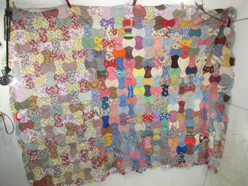 Vintage 1940 s Hand Sewn Quilt TOP -For Projects 87