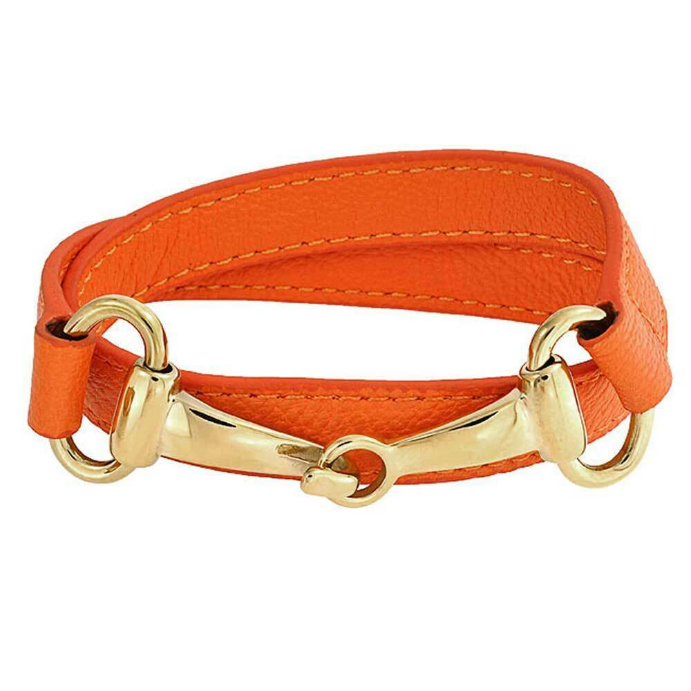 bling jewelry orange leather gold plated steel horses bit