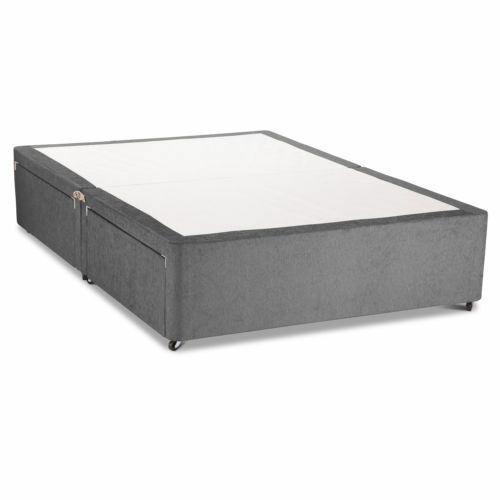 Charcoal chenille divan base with under bed drawer storage for 3ft divan bed with storage