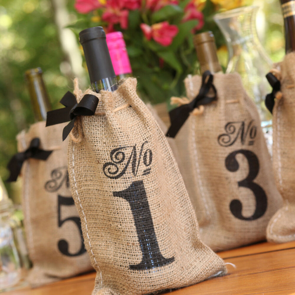 Rustic country burlap wine bag birthday bridal wedding Burlap bag decorating ideas