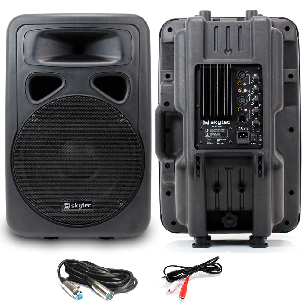 2x skytec 12 active karaoke dj pa speakers cables party. Black Bedroom Furniture Sets. Home Design Ideas