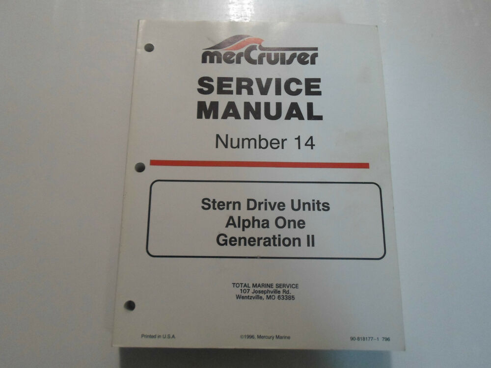 1997 Mercruiser   14 Stern Drive Units Alpha One Service