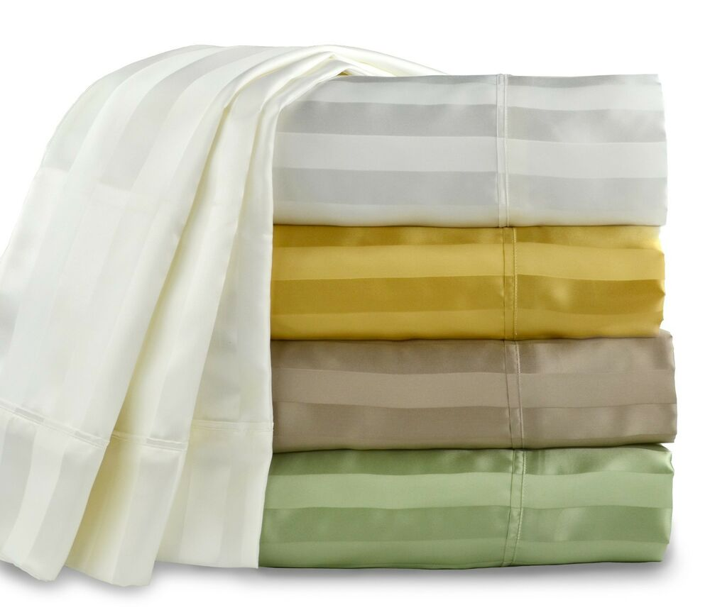100 Mulberry Silk Sheet Set Woven Stripe 19 Momme