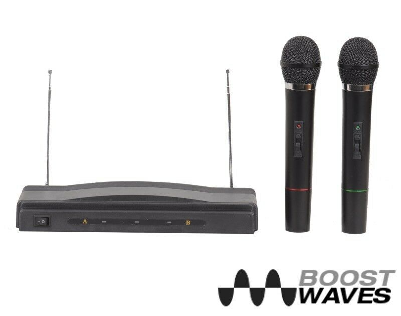 dual microphone system wireless professional karaoke kit cordless 2 mics pro ebay. Black Bedroom Furniture Sets. Home Design Ideas