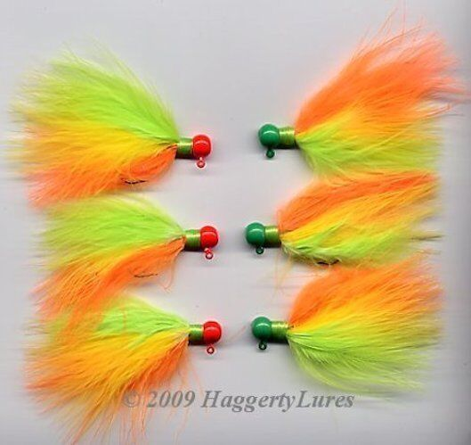 6 uv coated marabou jig walleye crappie trout steelhead for Ice fishing lures for panfish
