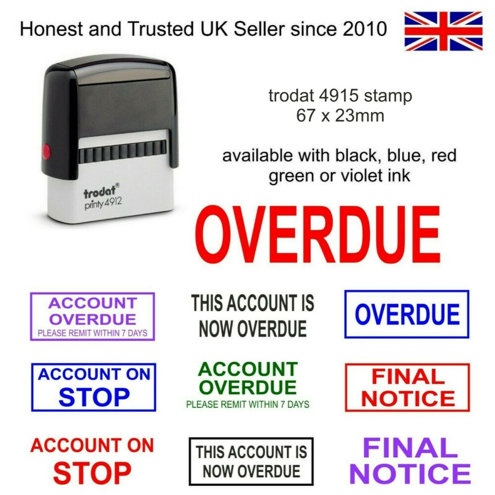 accounts self inking rubber stamp trodat 4912 red ink overdue final notice etc ebay