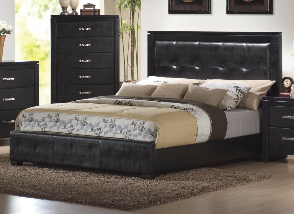 Queen king size beds in faux leather 4pcs bedroom set - Queen size bedroom furniture sets ...