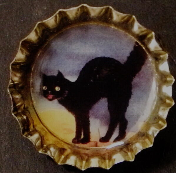 Vintage halloween postcard black cat on fence bottle cap Vintage halloween decorations uk