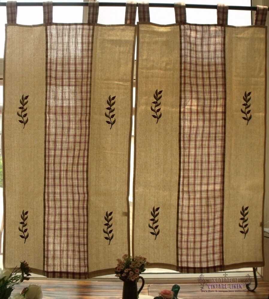 Country Cottage Kitchen Curtains: PAIR(2) Natural Window Curtain Door French Country Cottage