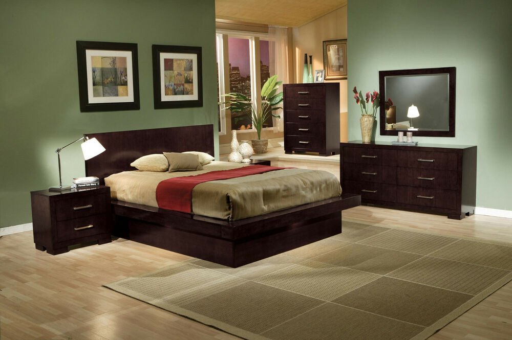 King Queen Size Beds Contemporary Style 4pcs Bedroom Furniture Set In Cappuccino Ebay
