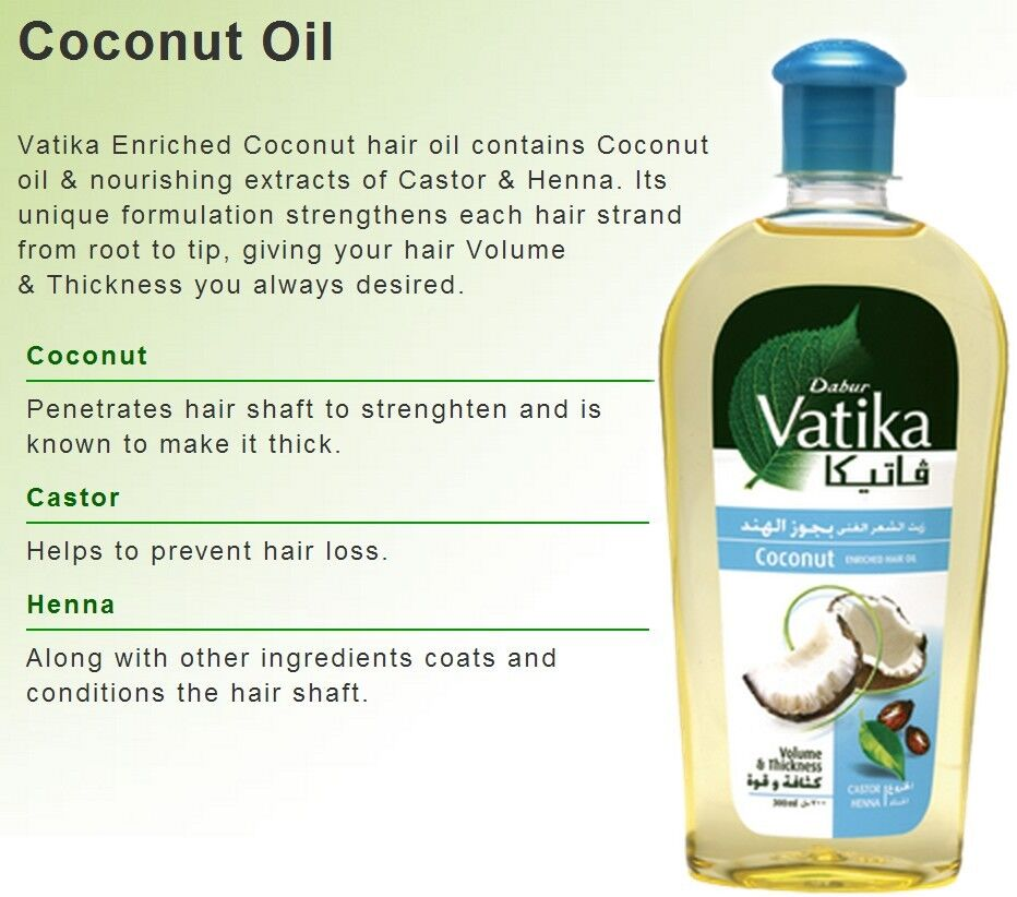 3 X 200ml Dabur Vatika Coconut Enriched Hair Fall Oil