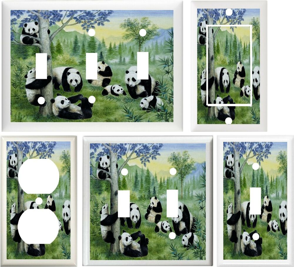 Panda bear family bamboo trees awesome home decor switch for Panda bear decor