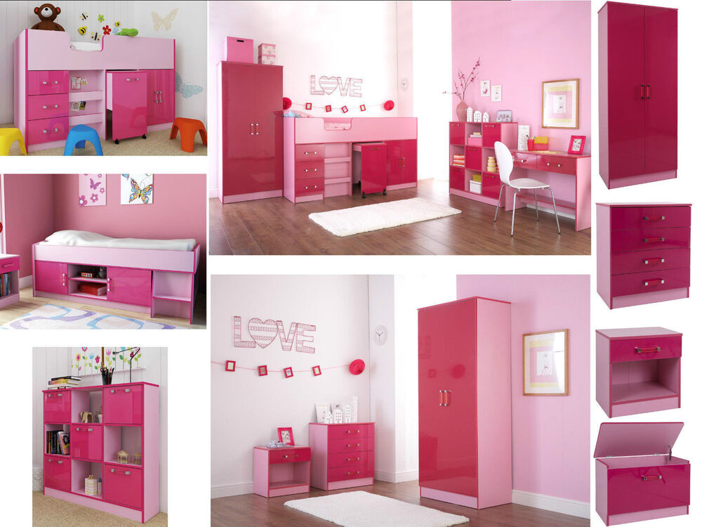Ottawa caspian pink gloss girls bedroom furniture - Bedroom sets with drawers under bed ...