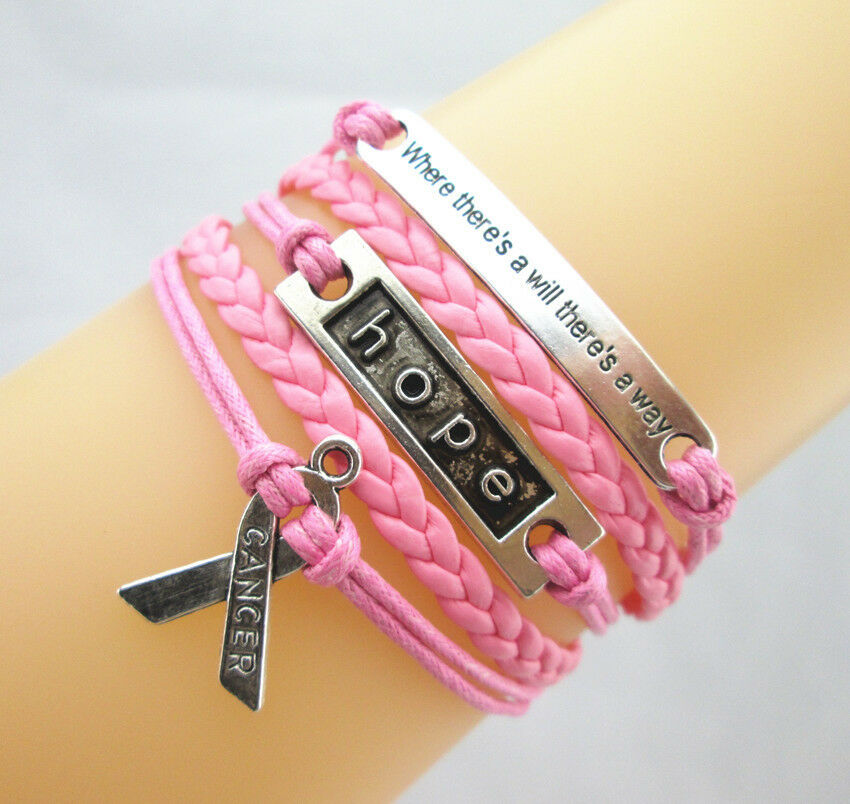 Motto/Hope/Breast Cancer Awareness Ribbon Charms Leather