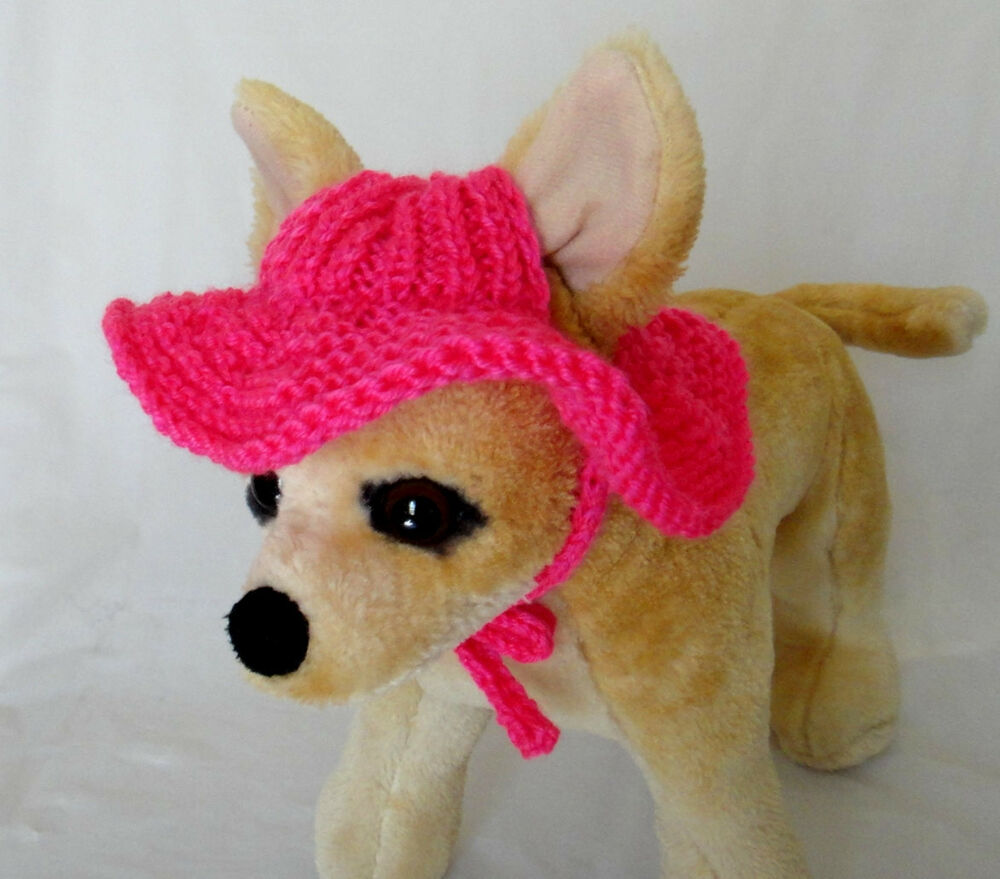 Knitting Pattern For Small Dog Hat : Pet Clothes Summer Outfit Crochet Handmade Knit Brim Hat for Small Dog eBay