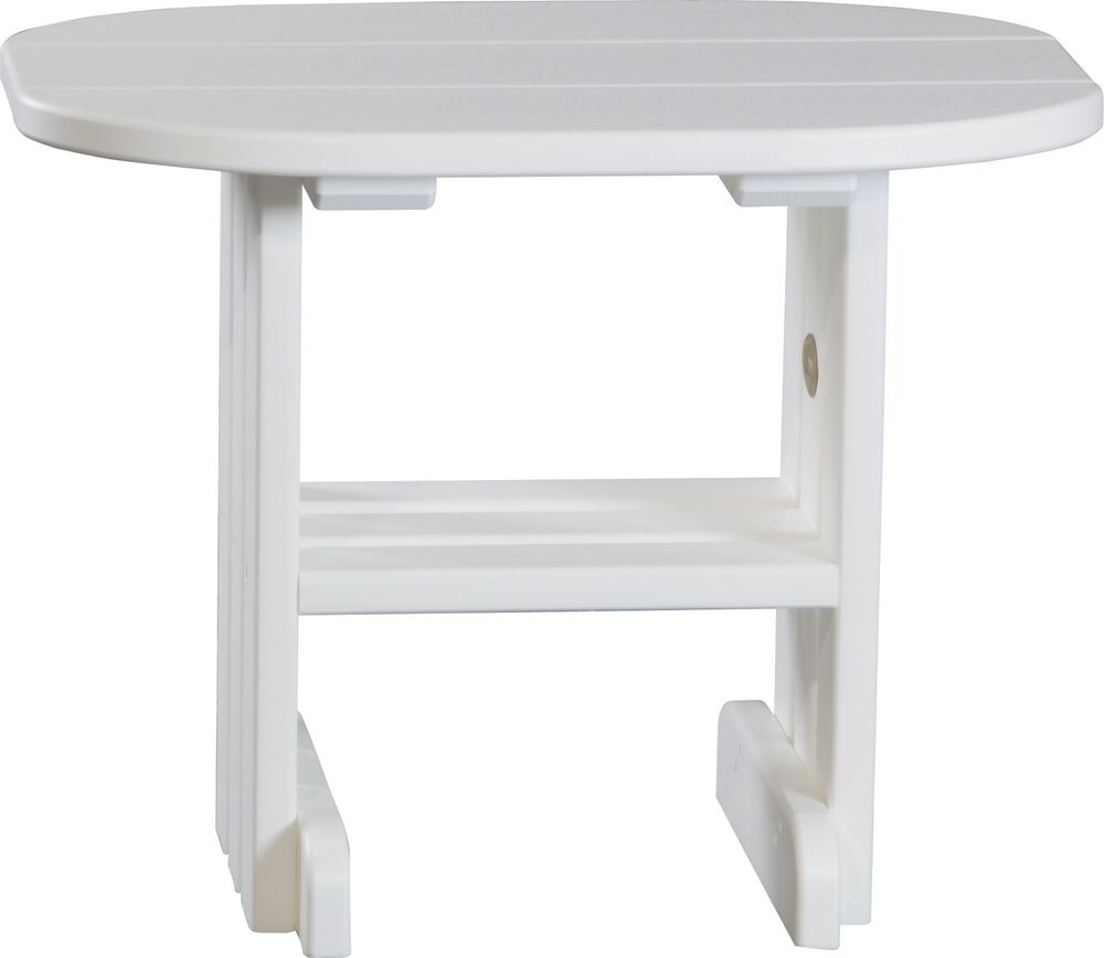 Poly furniture wood end table white color amish made ebay for White end table