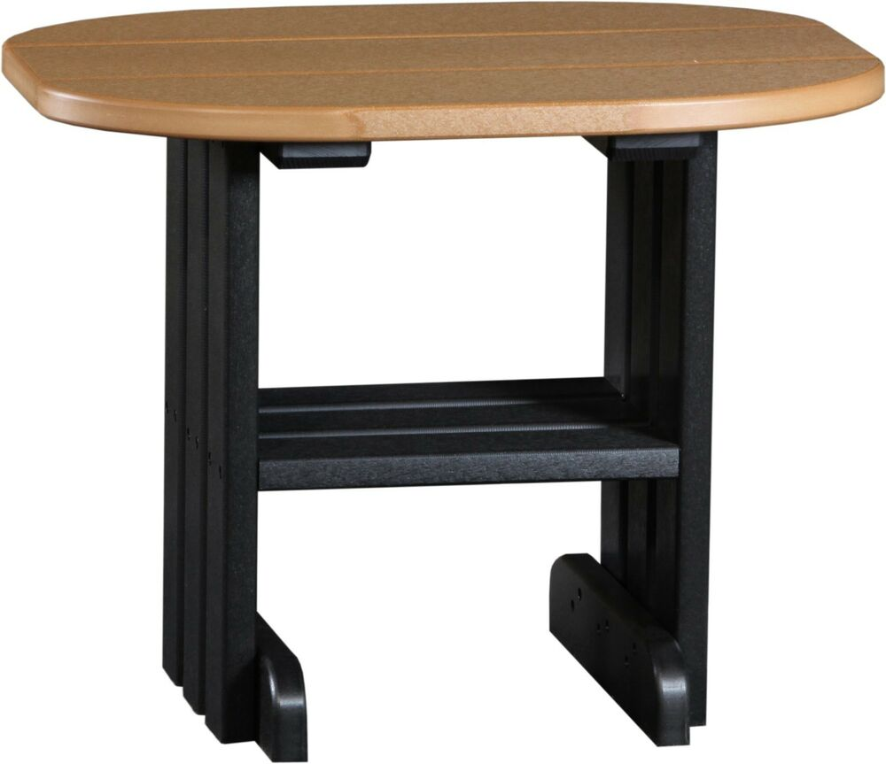 Poly furniture wood end table cedar black color amish for Black wood end tables