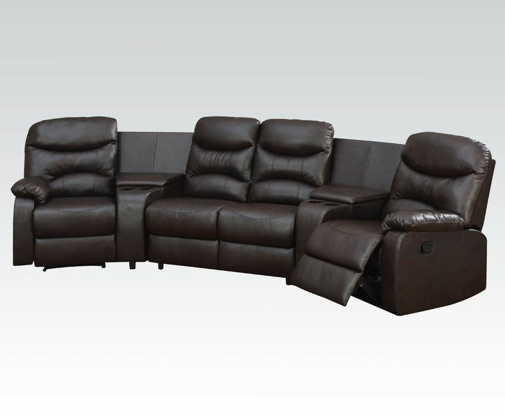 home theater seating reclining sectional sofa couch in brown leather w console ebay. Black Bedroom Furniture Sets. Home Design Ideas