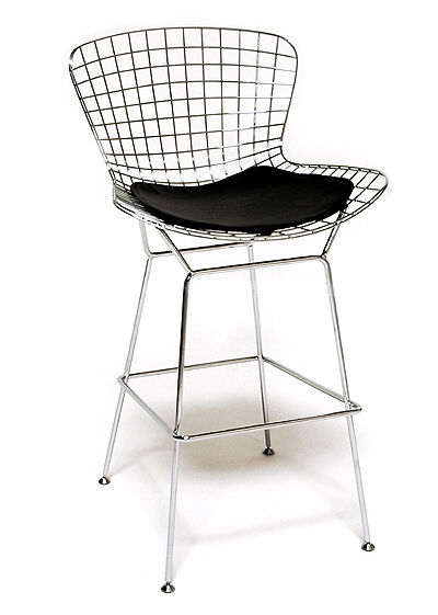 Bertoia wire bar stool with black cushion ebay - Bertoia wire counter stool ...