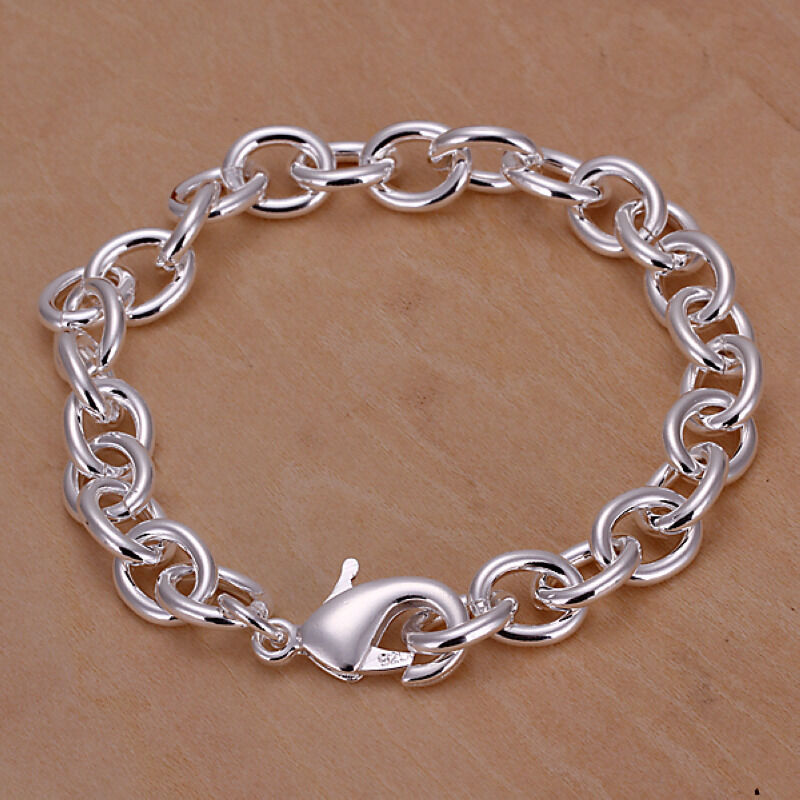 Chain Bracelet Womens: Solid Silver Jewelry Circle To Circle Chain Women Men