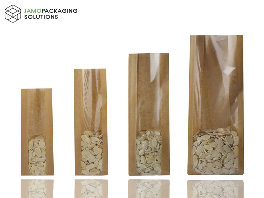 Kraft Brown Paper Bags With Window Heat Seal For Catering