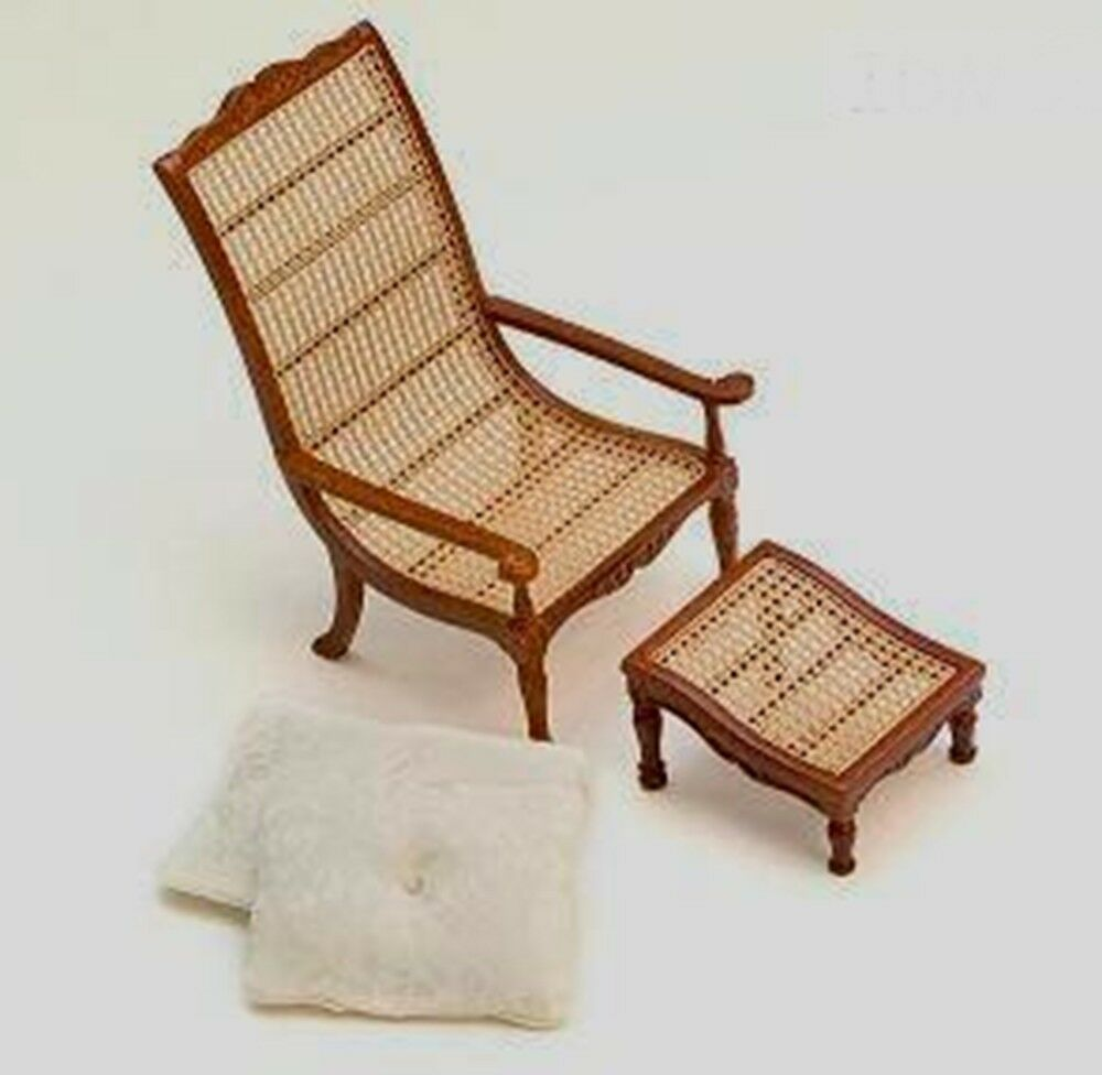 wicker chair ottoman living room bedroom dollhouse miniatures 1 12