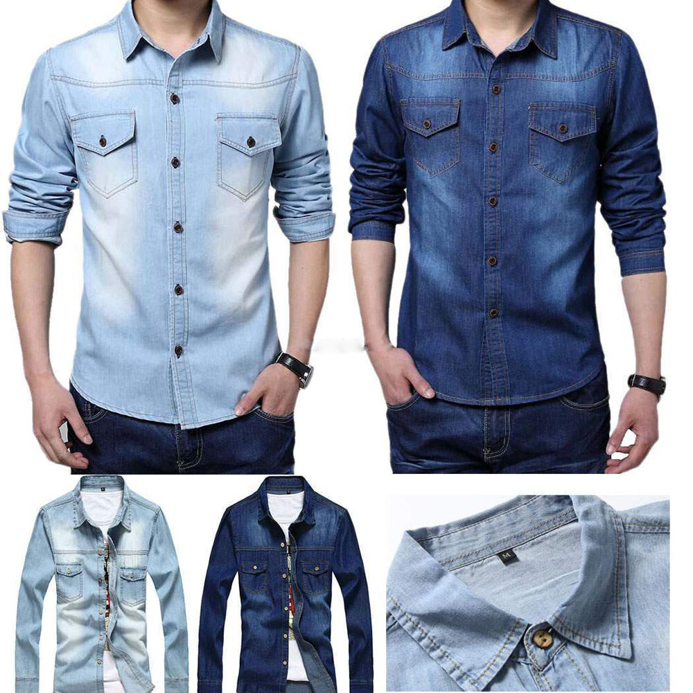 Fashion stylish men casual long sleeve jeans denim shirt for Mens jeans and dress shirt