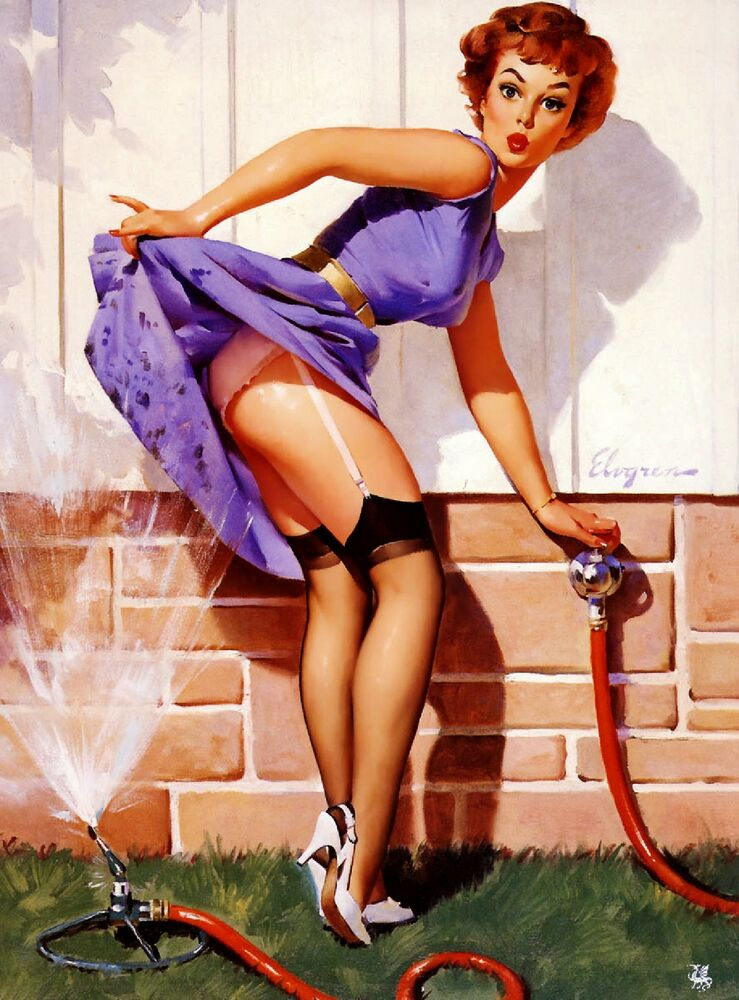 pin up on a 1940s pin up girl sprinkler cooling off picture poster