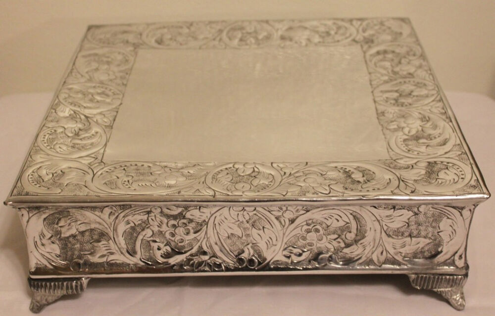 14 inch square wedding cake stand grand wedding silver square cake stand plateau 14 inch ebay 10047