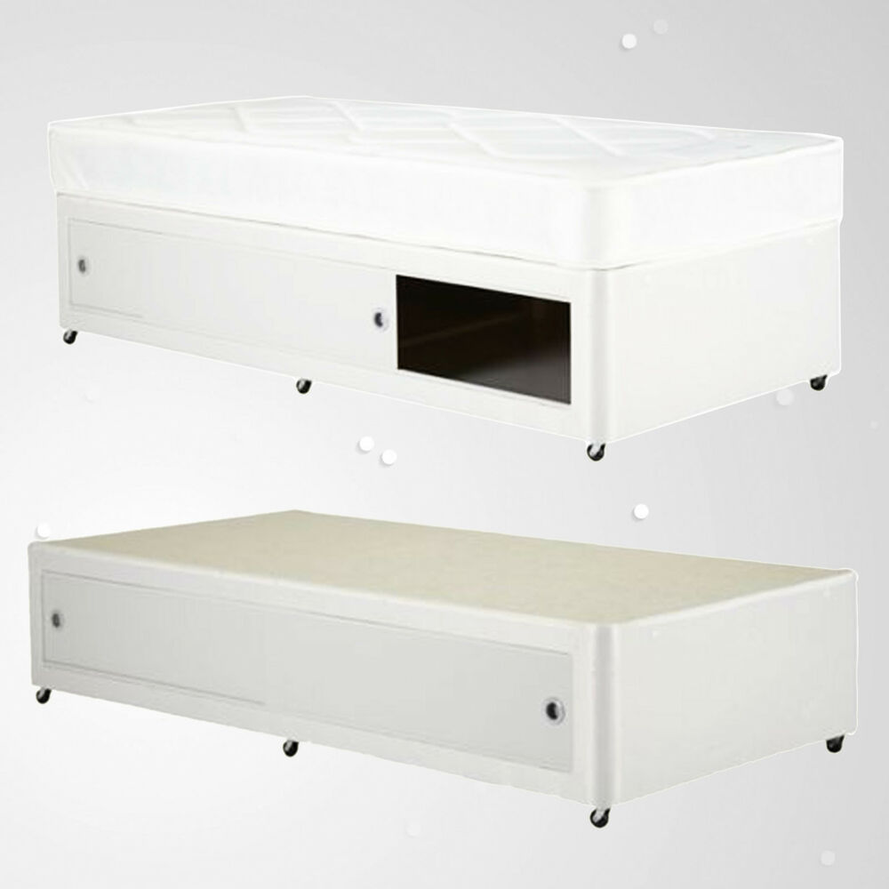 Kids shorty white leather slide storage 2ft6 3ft divan bed for Single divan bed with slide storage