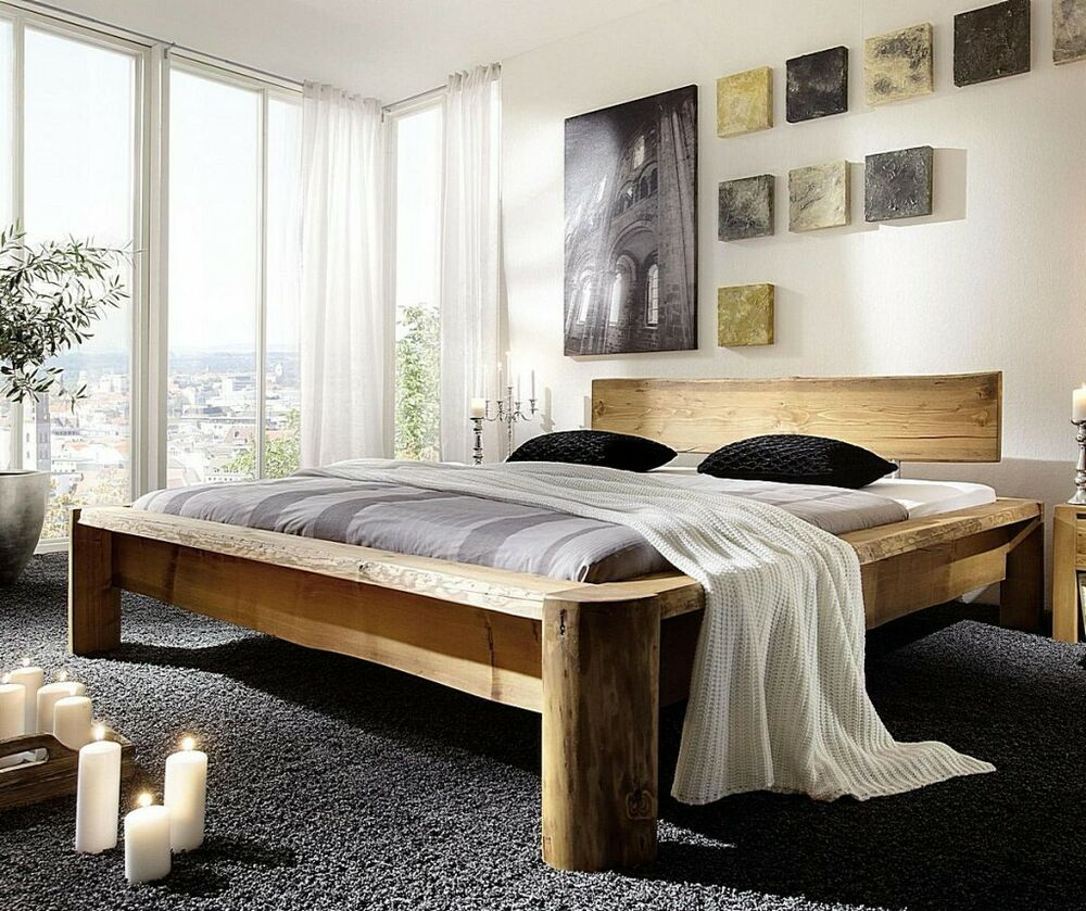 doppelbett balkenbett unikat 180x200 bett bettgestell holz rustikal antik massiv ebay. Black Bedroom Furniture Sets. Home Design Ideas