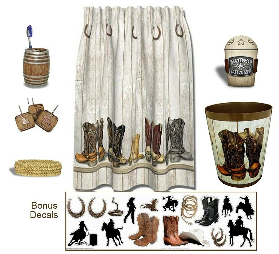 western bath set shower curtain cowboy theme bathroom accessories 6