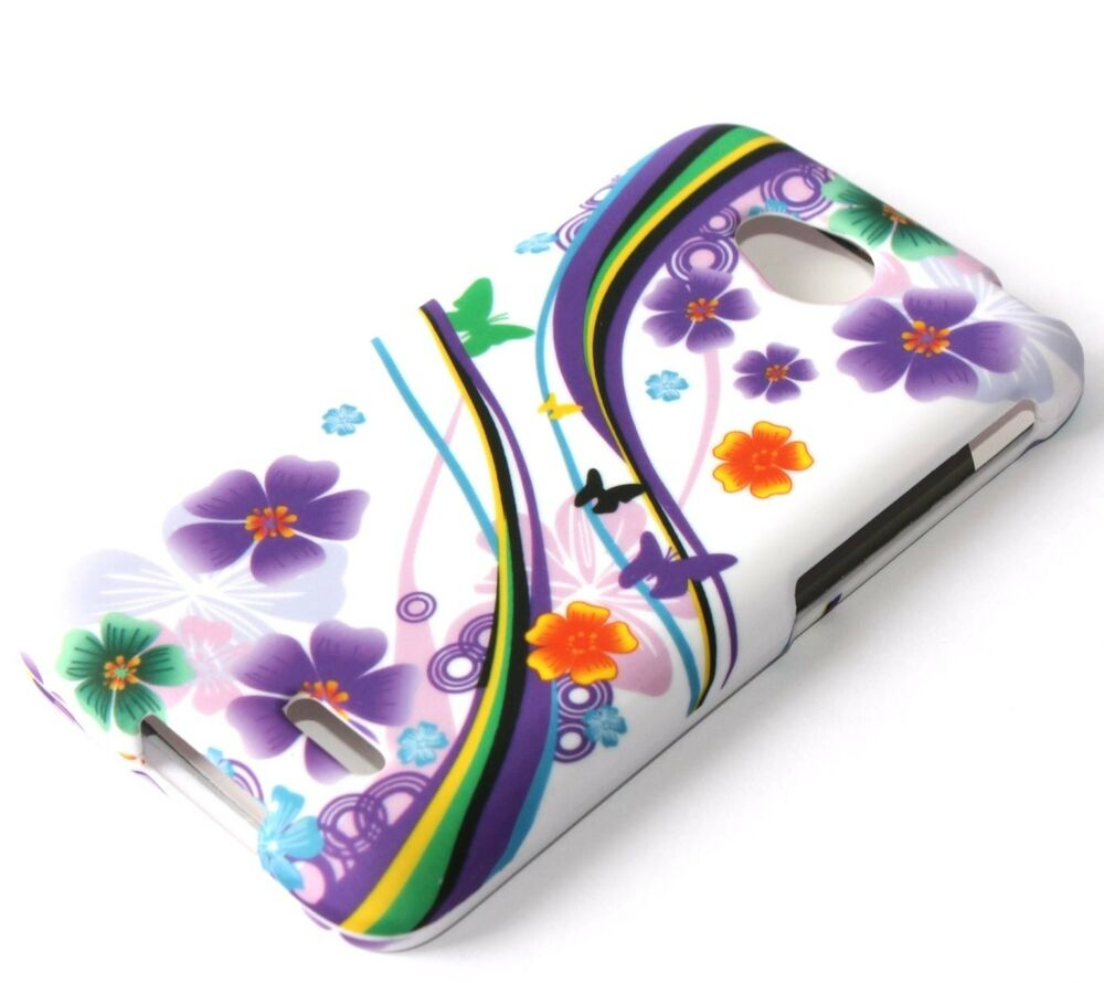 For LG Optimus L70 MS323 D325 - HARD FITTED SKIN CASE PURPLE FLOWERS ...