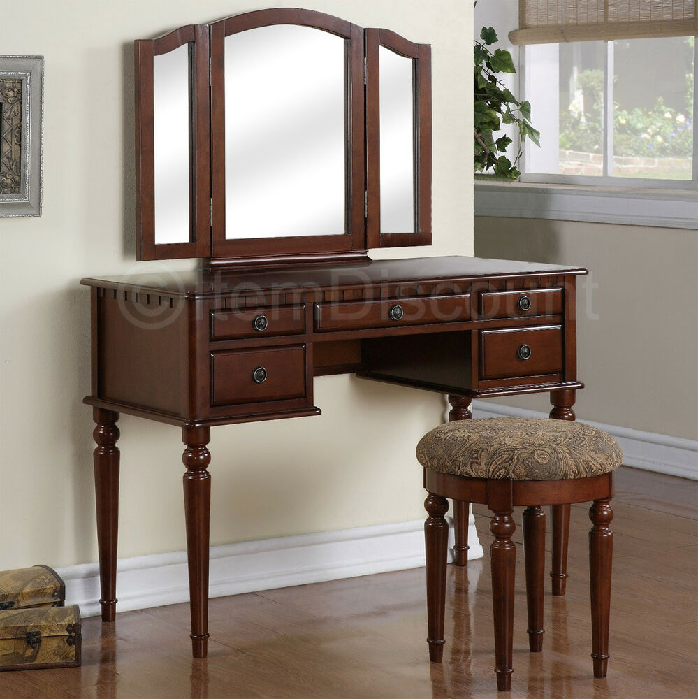 Cherry wood tri fold vanity makeup mirror table set for Bedroom vanity with drawers